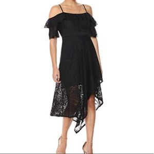 Bcbgmaxazria Black asymmetrical demi lace dress